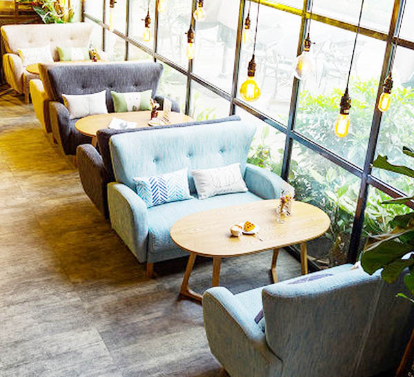 sofa cafe đôi màu sắc đẹp